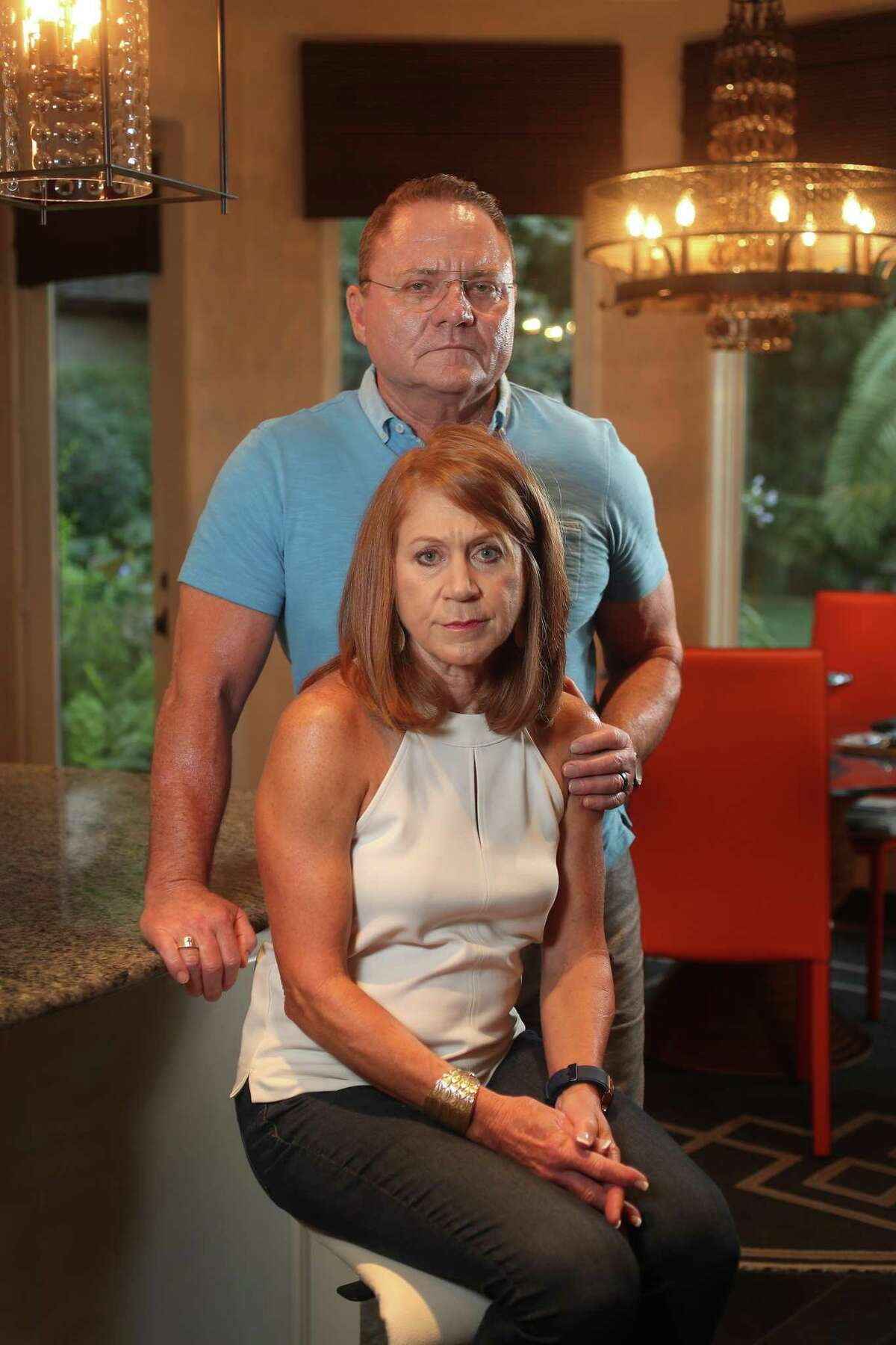 Jill Baine and her husband, James, are upset that their Aliera health plan denied payment for her cancer radiation treatment Wednesday, July 10, 2019, in The Woodlands.