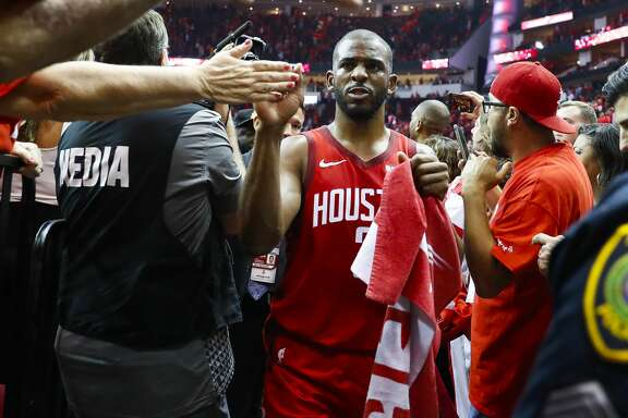 Houston Rockets guard Chris Paul (3) walks off of the court at the conclusion of game 5 of the NBA playoffs at theToyota Center, in Houston, Wednesday, April 24, 2019.