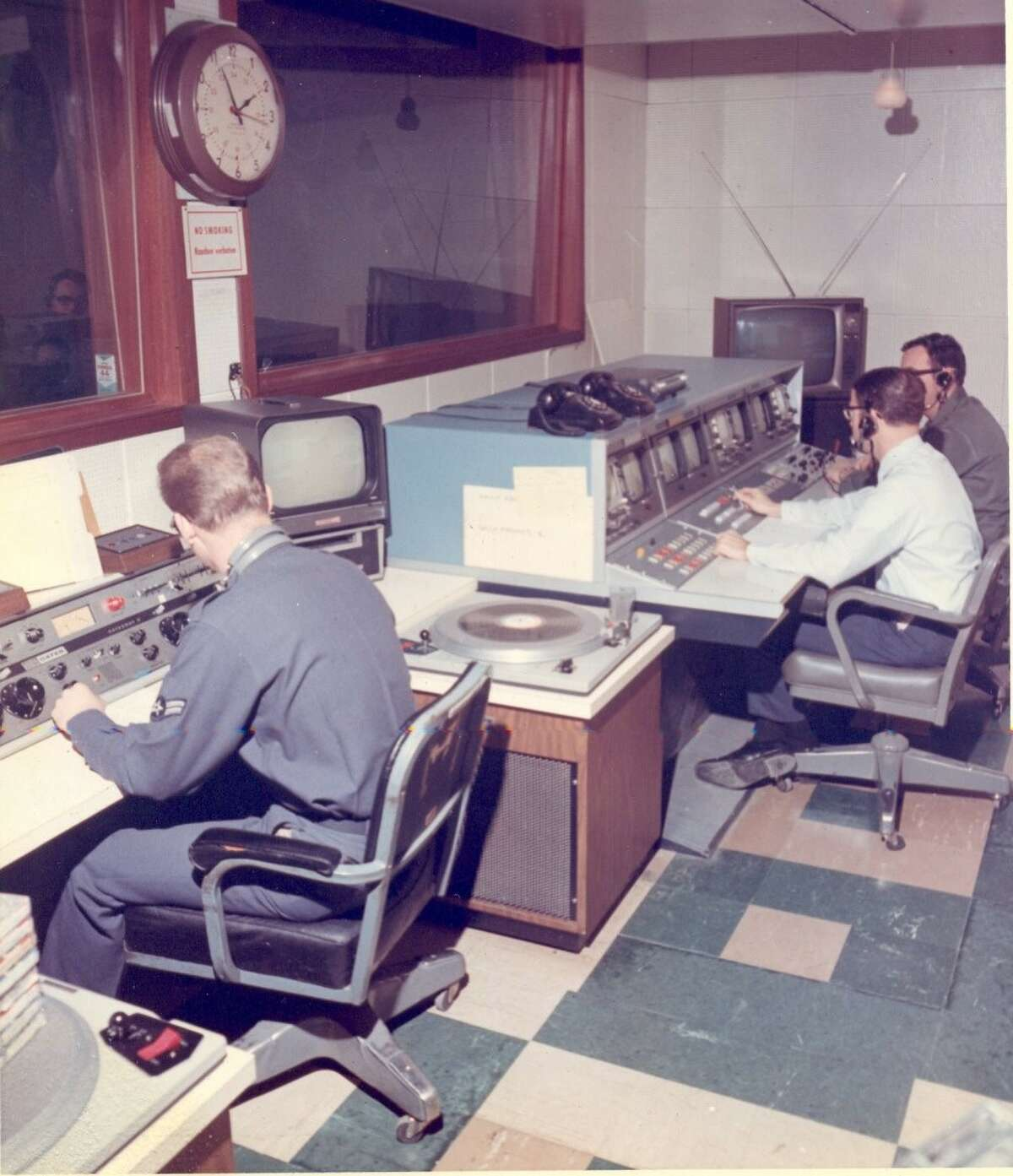 Tom Disinger of Clifton Park was a 21-year-old member of the U.S. Air Force stationed at Ramstein Air Base in Germany. Here's the control room where he worked when Apollo 11 landed on the moon in July 1969. He was working at the American Forces TV station. He's seen at the far right. (Courtesy Tom Disinger)