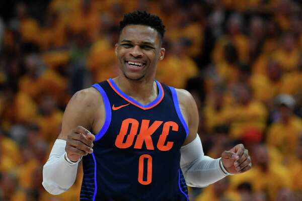 SALT LAKE CITY, UT - APRIL 27: Russell Westbrook #0 of the Oklahoma City Thunder looks on in the first half during Game Six of Round One of the 2018 NBA Playoffs against the Utah Jazz at Vivint Smart Home Arena on April 27, 2018 in Salt Lake City, Utah. NOTE TO USER: User expressly acknowledges and agrees that, by downloading and or using this photograph, User is consenting to the terms and conditions of the Getty Images License Agreement. (Photo by Gene Sweeney Jr./Getty Images)