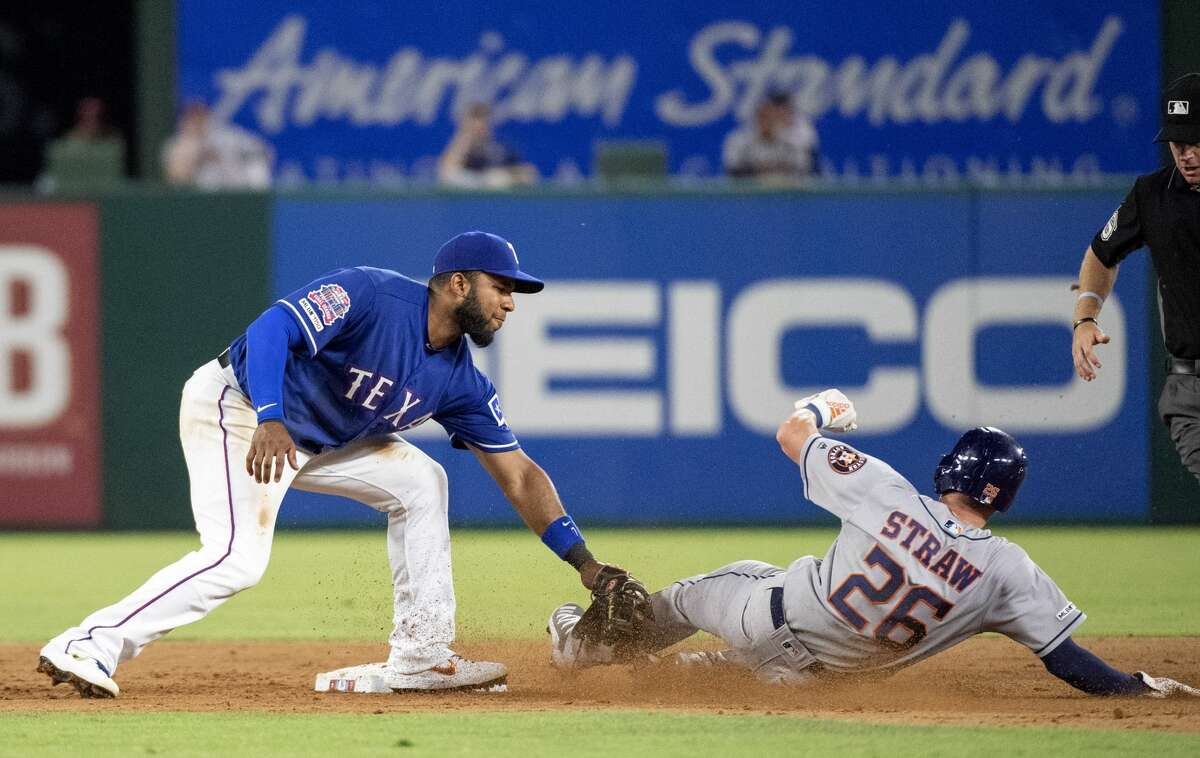 Texas Rangers shortstop Elvis Andrus tags out Houston Astros' Myles Straw (26) for the second out of a double play on a grounder by Yordan Alvarez during the eighth inning of a baseball game Thursday, July 11, 2019, in Arlington, Texas. Texas won 5-0. (AP Photo/Jeffrey McWhorter)