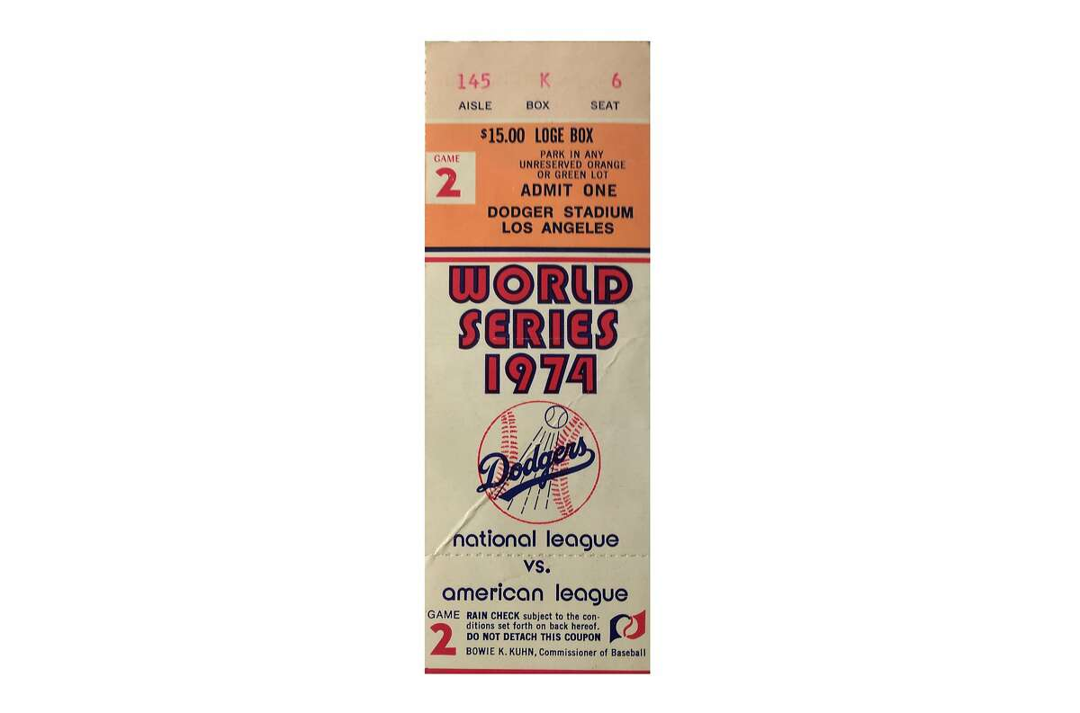 A 1974 World Series ticket for game 2 between the Los Angeles Dodgers and the Oakland Athletics. The ticket sold for $15.00