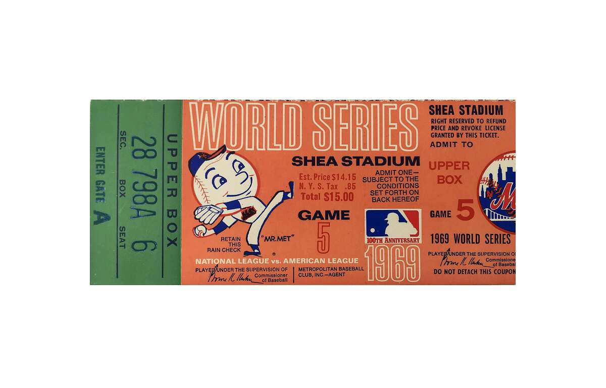 A 1969 World Series ticket for game 5 between the New York Mets and the Baltimore Orioles. The ticket sold for $15.00