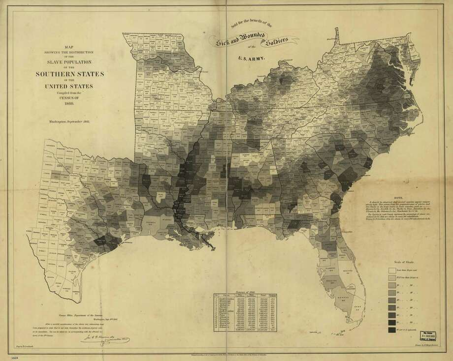 An 1861 map showing the distribution of the slave population in the South helped illustrate the cause of the Civil War - the South's reliance on slavery. Photo: The Library Of Congress. / The Washington Post