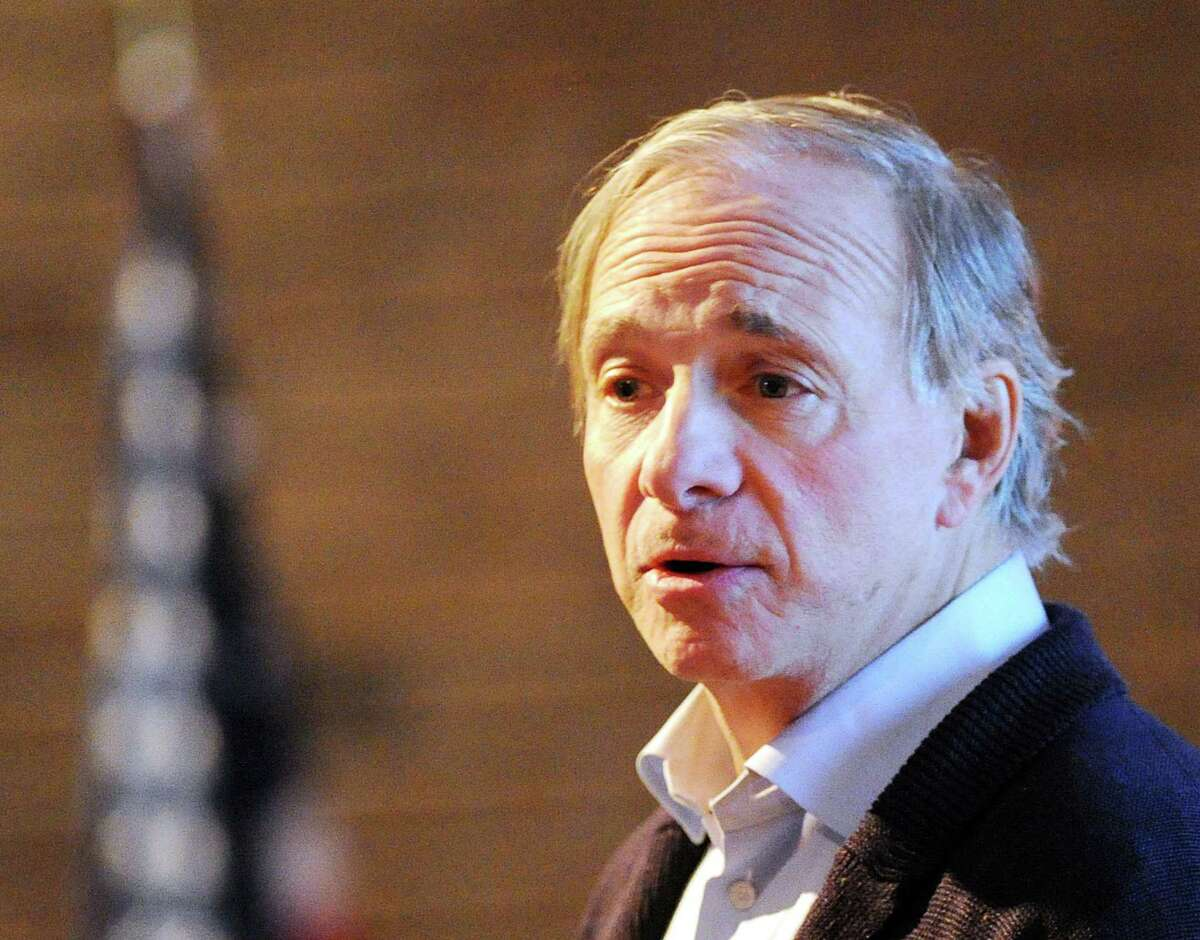 """Greenwich resident Ray Dalio, a hedge fund billionaire, speaks about his book """"Principles"""" as part of Greenwich Library's authors live speaker series in the Cole Auditorium at the library in Greenwich, Conn., Wednesday night, Dec. 6, 2017."""