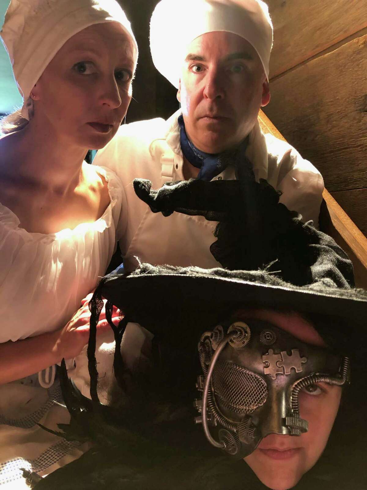 From left, Rebecca Ellis as the Baker's Wife, John Johmann as the Baker, and Joanie Brittingham as the Witch.