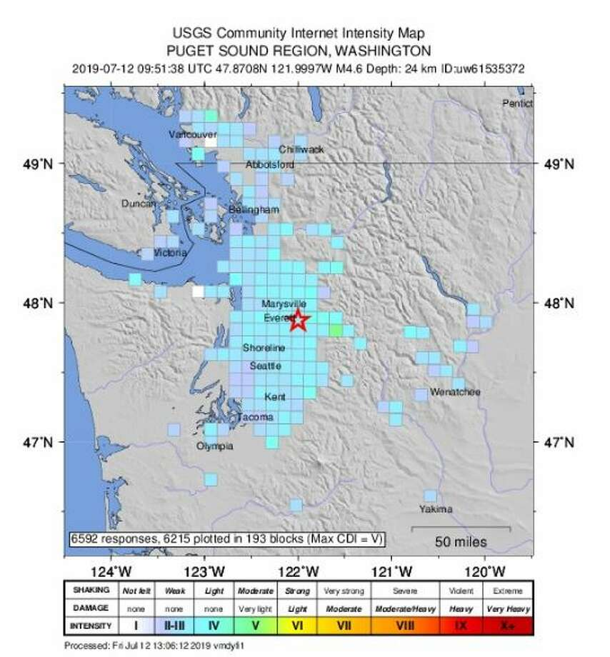 Friday morning's 4.6 quake centered in Three Lakes could be felt in Olympia and Vancouver, B.C. Photo: Courtesy USGS