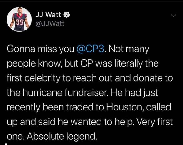 'Absolute legend': J.J. Watt shares heartfelt message to Chris Paul after trade