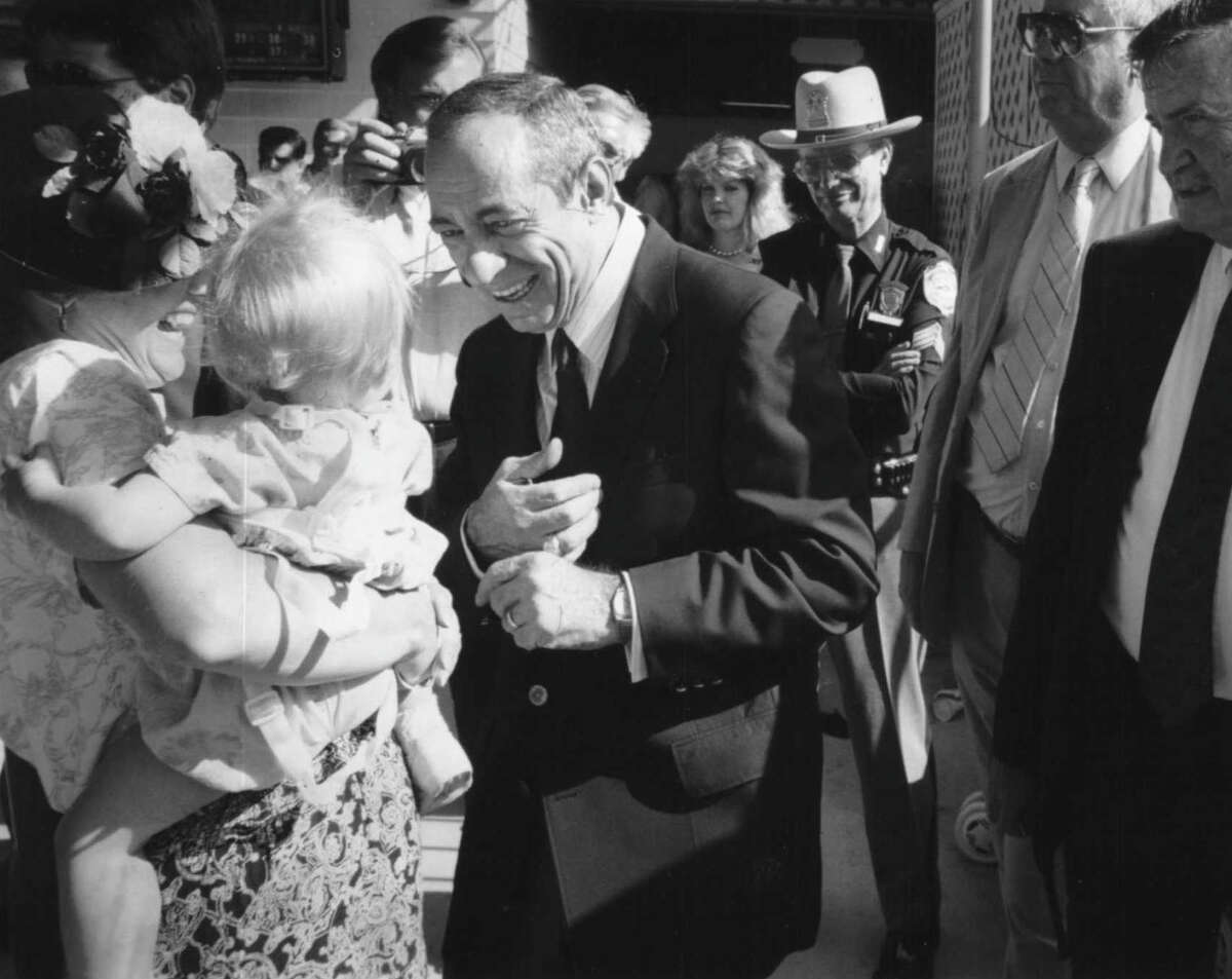 Saratoga Raceway - New York Governor Mario Cuomo works the crowd at The Travers - it was his first time at the track. August 22, 1992 (Steve Jacobs/Times Union Archive)