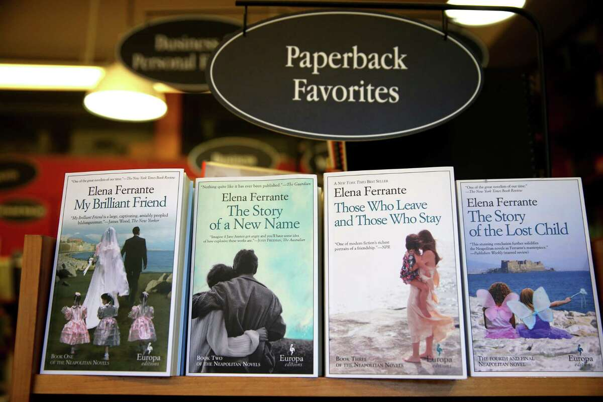 Elena Ferrante books are photographed at the Harvard Book Store in Cambridge, Mass., on April 8, 2016. (Photo by Jonathan Wiggs/The Boston Globe via Getty Images)