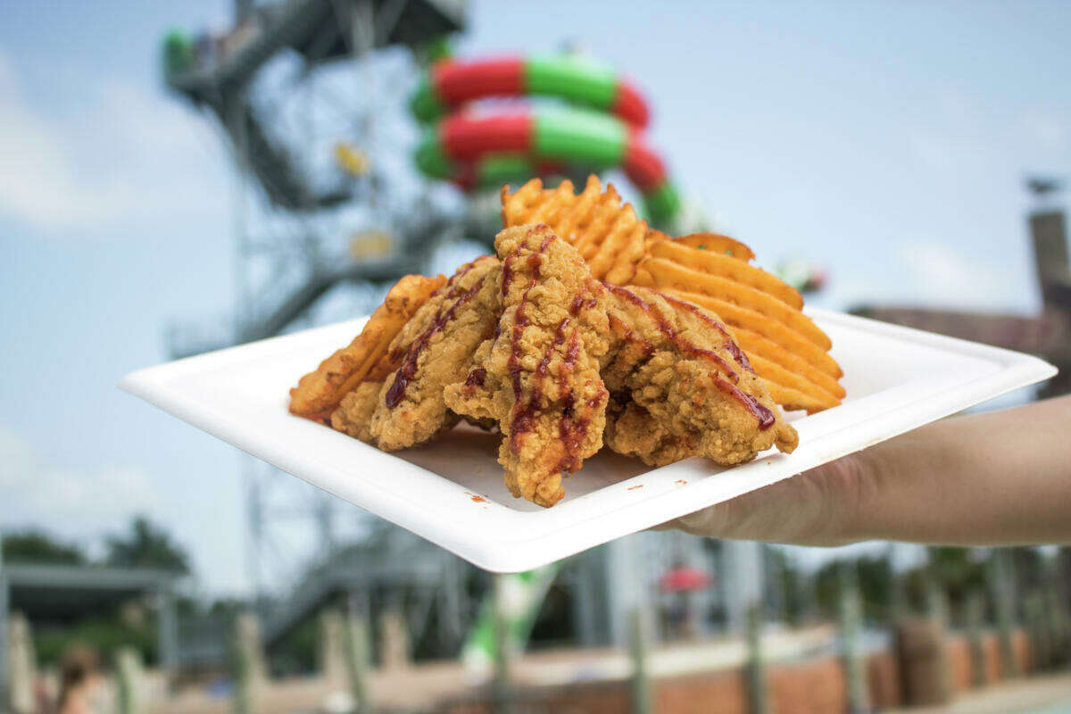 The Sweet Heat tenders are drizzled with a signature Sweet Sriracha BBQ sauce and served with seasoned waffle fries.