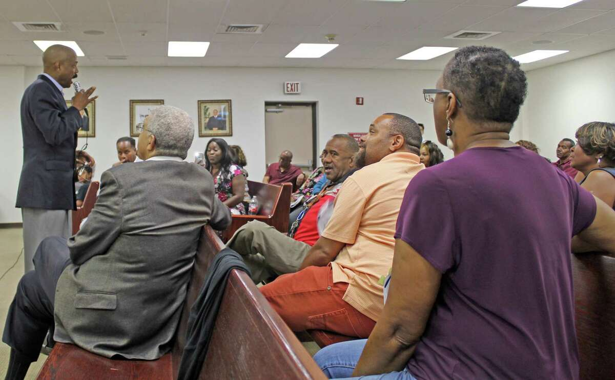A standing-room-only crowd greeted Senator Borris Miles at a town hall gathering in Missouri City on Wednesday, July 10.