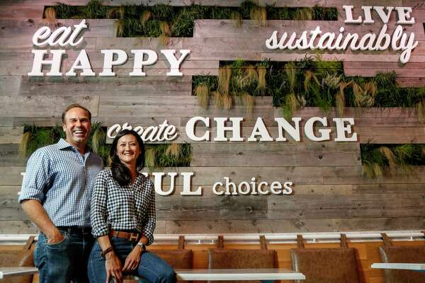 Mendocino Farms, co-founders Mario Del Pero and Ellen Chen, a husband and wife team, at their new restaurant in the Rice Villiage, Thursday, July 11, 2019. Mendocino Farms is a premium fast-casual sandwich and salad brand, has selected Houston as its first major expansion outside of California, and it will open july 18. The restaurant uses only high-quality, responsibly-sourced ingredients for a chef-diven menu that emphasizes seasonal produce.