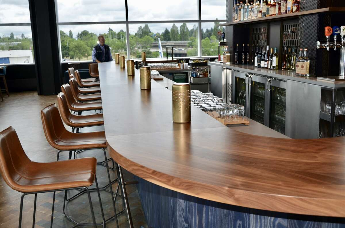 There's a lot of wood finishing in the Cut Loose section, what Alaska calls the bar at its new Seattle Lounge. It exudes a Tavern-like vibe.