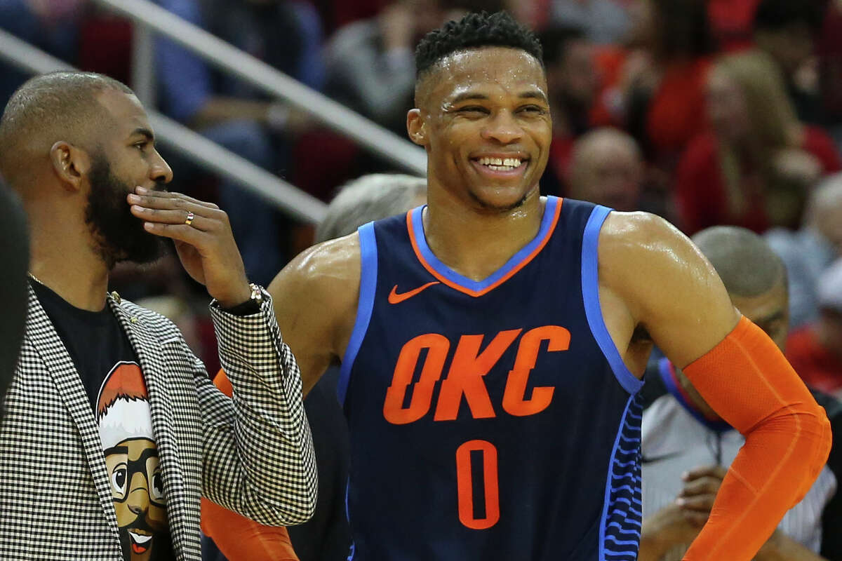 The Rockets' biggest offseason changes were the addition of Russell Westbrook and shipping Chris Paul (left) to Oklahoma City in a dramatic backcourt makeover.