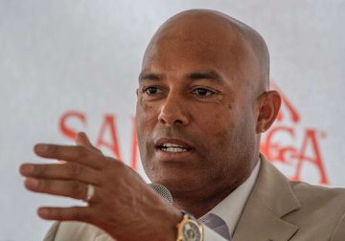 Retired New York Yankees closer Mariano Rivera speaks to reporters Friday at Saratoga Race Course. Rivera, who hold Major League Baseball's record for saves, will be inducted into the Baseball Hall of Fame on July 21.