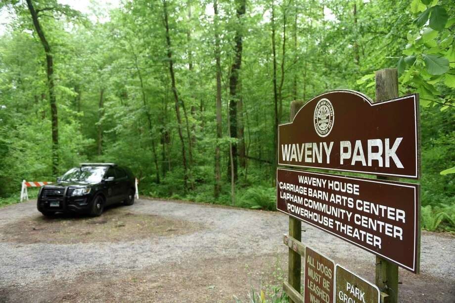 Police block off trails as they search for missing person Jennifer Dulos on the southern end of Waveny Park in New Canaan, Conn. Wednesday, May 29, 2019. Dulos was reported missing Friday evening and police searched the area surrounding her neighborhood on Tuesday and the woods of Waveny Park on Wednesday. Photo: Tyler Sizemore / Hearst Connecticut Media / Greenwich Time