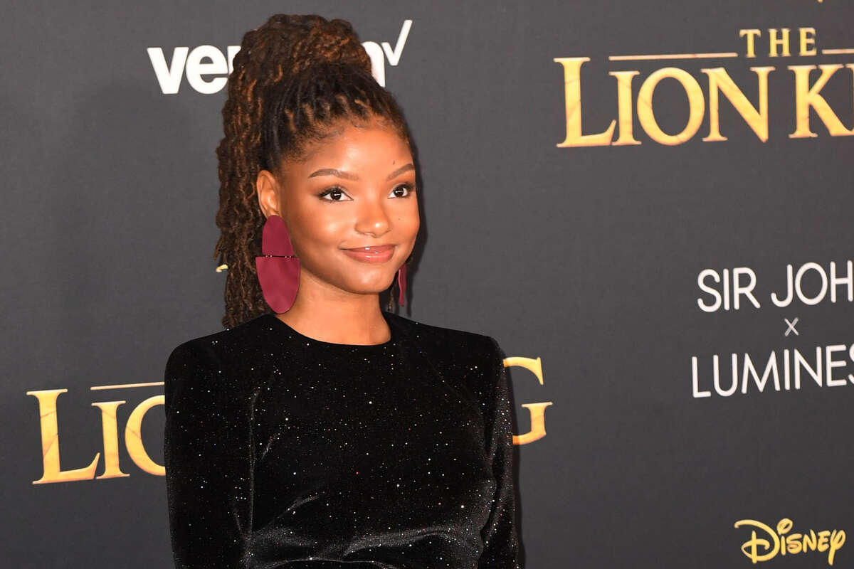 Halle Bailey from US duo Chloe X Halle arrives for the world premiere of Disney's