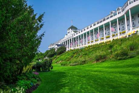 Walking up a short hill you get a spectacular view of The Grand Hotel on Mackinac Island, Mich.