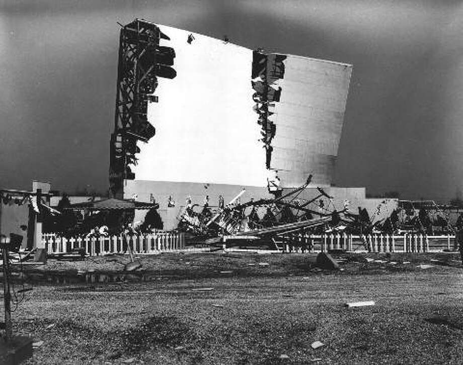 A tornado ripped through the screen of the Skyview Drive-In in 1956. Photo: For The Intelligencer