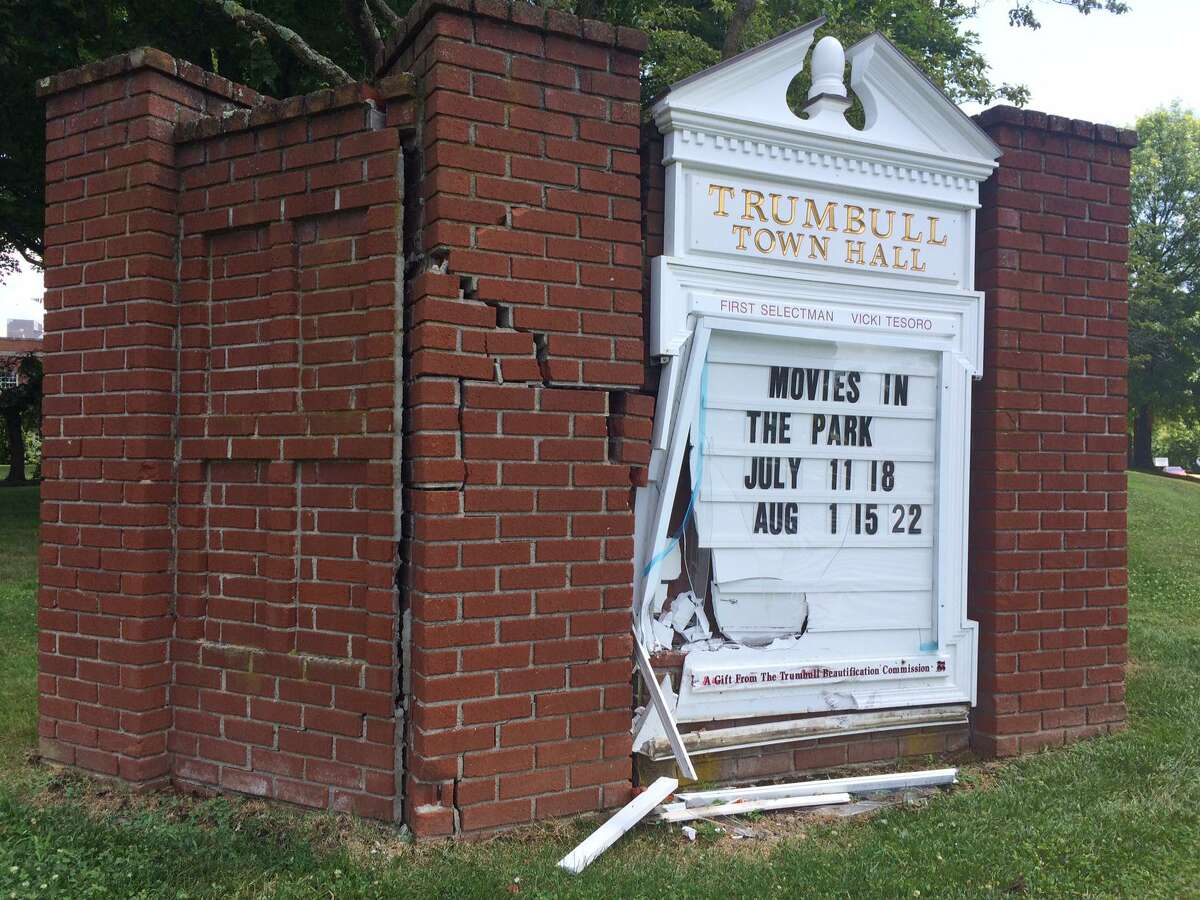 Town officials are looking into options for repairing the brick and glass sign in front of Town Hall that was damaged when struck by a vehicle Wednesday morning.