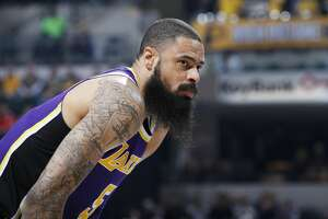 INDIANAPOLIS, IN - FEBRUARY 05: Tyson Chandler #5 of the Los Angeles Lakers looks on during the game against the Indiana Pacers at Bankers Life Fieldhouse on February 5, 2019 in Indianapolis, Indiana. The Pacers won 136-94. NOTE TO USER: User expressly acknowledges and agrees that, by downloading and or using the photograph, User is consenting to the terms and conditions of the Getty Images License Agreement. (Photo by Joe Robbins/Getty Images)