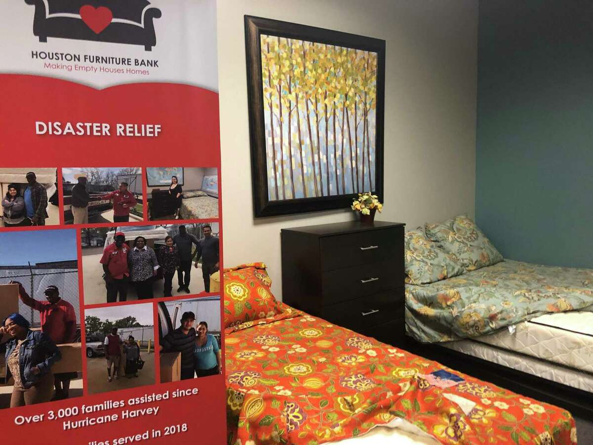 A sample room at the Houston Furniture Bank shows examples of the furniture that around 3,000 families affected by Hurricane Harvey in 2017 have received.