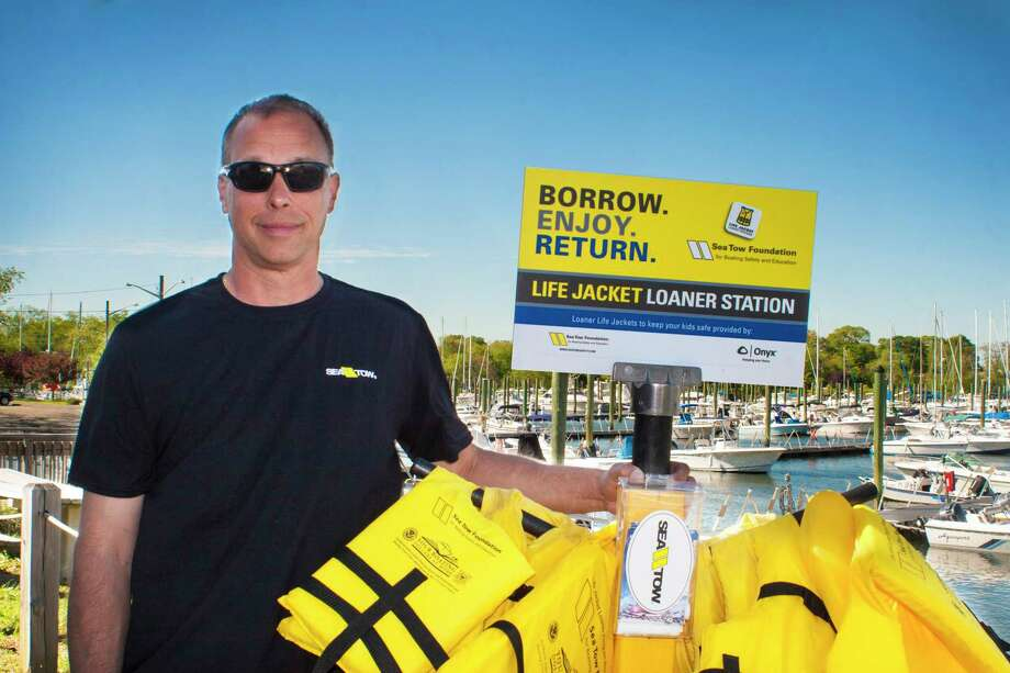 Sea Tow Southern Connecticut, the region's leading on-water assistance program opened two Life Jacket Loaner Stands July 1. Photo: Courtesy Of The Sea Tow Foundation