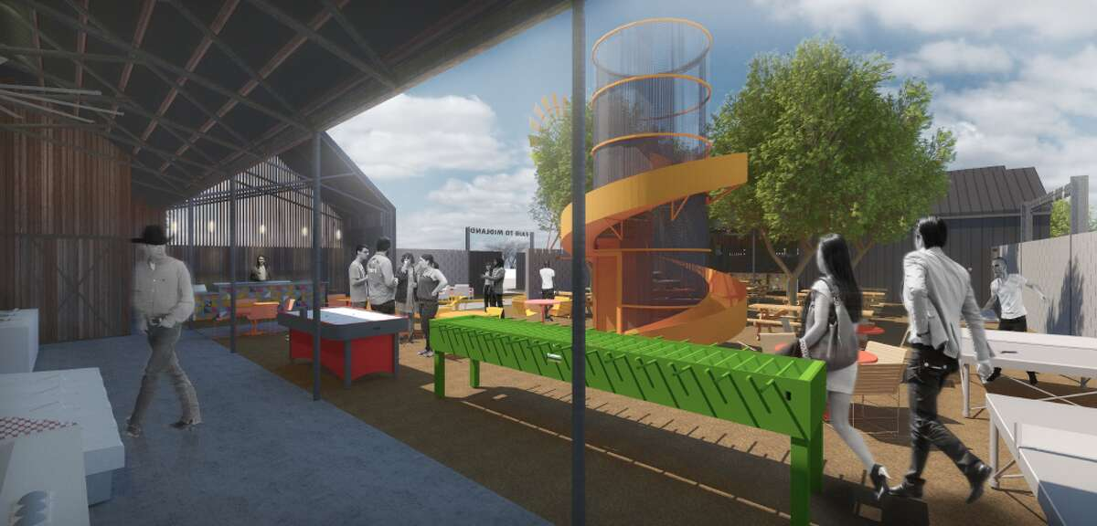 Renderings of the restaurant and entertainment concept Fair to Midland.After being announced in the summer of 2019, Fair to Midland, a bar to be located at 1115 Tradewinds Blvd., applied for a specific use designation with term for the sale of all alcoholic beverages for on premises consumption in a bar. The request was unanimously approved.