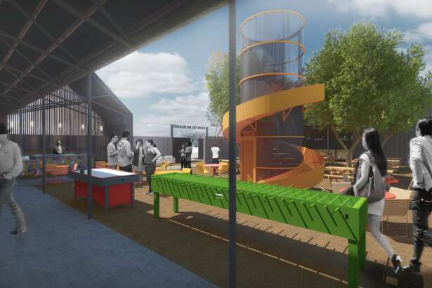 Renderings of the restaurant and entertainment concept Fair to Midland which was announced to open in 2020 by KPG Hospitality.