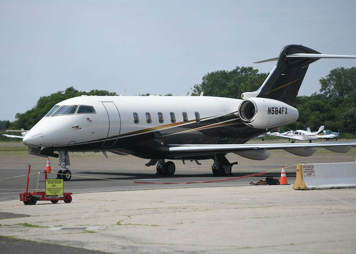 A business jet at Sikorsky Airport in Stratford on July 11, 2019.