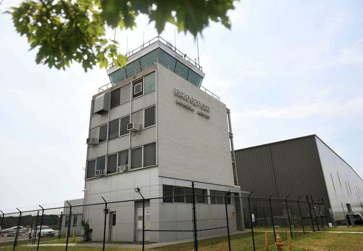 The control tower at Sikorsky Airport in Stratford in July.