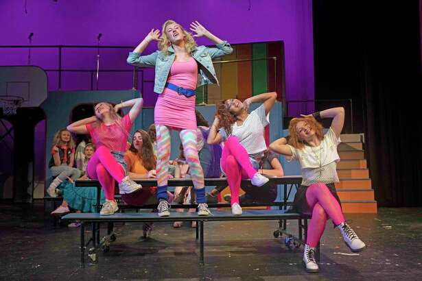 """A scene from Staples Players' upcoming production of """"Back to the 80's."""" From left, Staples High School students Maisy Boosin, Mia Kobylinski, AnnaMaria Fernandez and Camille Foisie."""