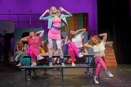 "A scene from Staples Players' upcoming production of ""Back to the 80's."" From left, Staples High School students Maisy Boosin, Mia Kobylinski, AnnaMaria Fernandez and Camille Foisie."