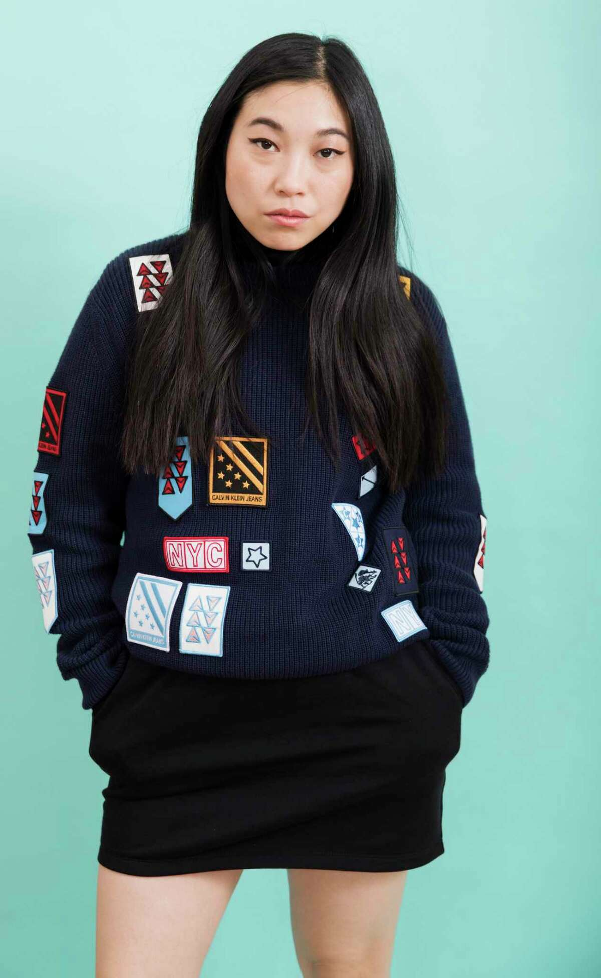 This June 12, 2019 photo shows actress Awkwafina posing in New York to promote her film,