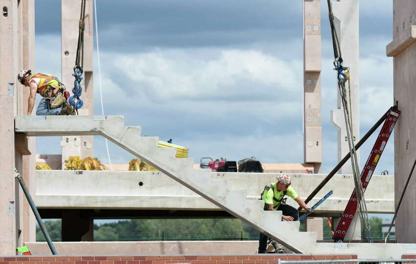 A concrete staircase is put in during construction on the new Albany International Airport parking garage on Friday, July 12, 2019 at Albany International Airport in Colonie, NY. (Phoebe Sheehan/Times Union)