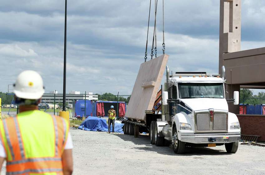 Construction continues on the new Albany International Airport parking garage on Friday, July 12, 2019 at Albany International Airport in Colonie, NY. (Phoebe Sheehan/Times Union)