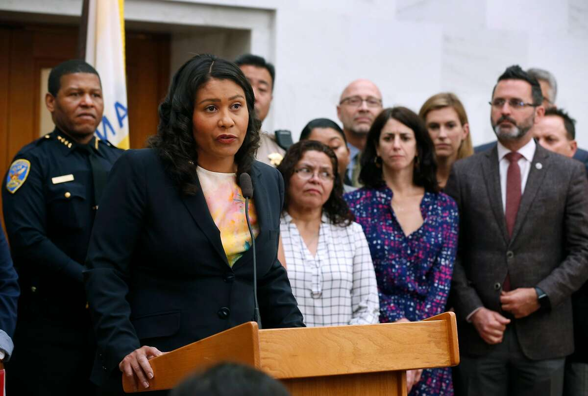 Mayor London Breed speaks at a news conference at City Hall in San Francisco, Calif. on Friday, July 12, 2019 to reaffirm that the city will not participate in any of the planned raids against immigrants by ICE agents beginning this weekend.