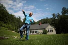 """FILE – Jim Bouton, the iconoclastic former New York Yankees pitcher and author of the baseball memoir """"Ball Four,"""" at home in Alford, Mass., June 23, 2017. Bouton's raunchy, shrewd, irreverent — and best-selling — player's diary helped pierce baseball's wholesome image. He died on July 10, 2019, at age 80. (Nathaniel Brooks/The New York Times)"""