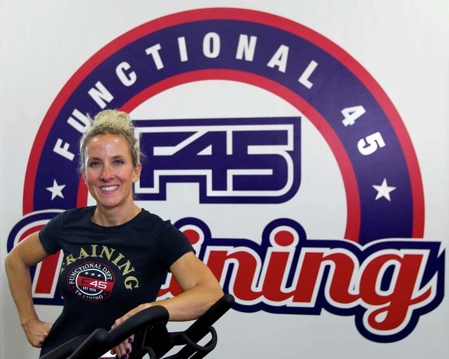 Krista Haywood, co-owner of F45 Training gym, poses for a portrait at the franchise's third location in Montgomery County, off Fish Creek Thoroughfare, Thursday, July 11, 2019, in Montgomery. Photo: Jason Fochtman, Houston Chronicle / Staff Photographer / Houston Chronicle