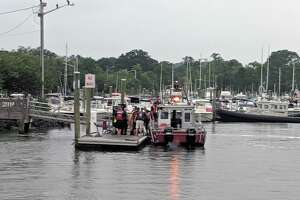 Water rescue in Ash Creek between Fairfield and Bridgeport, Conn., on July 11, 2019.
