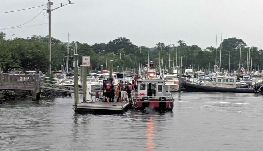 Water rescue in Ash Creek between Fairfield and Bridgeport, Conn., on July 11, 2019. Photo: Contributed Photo