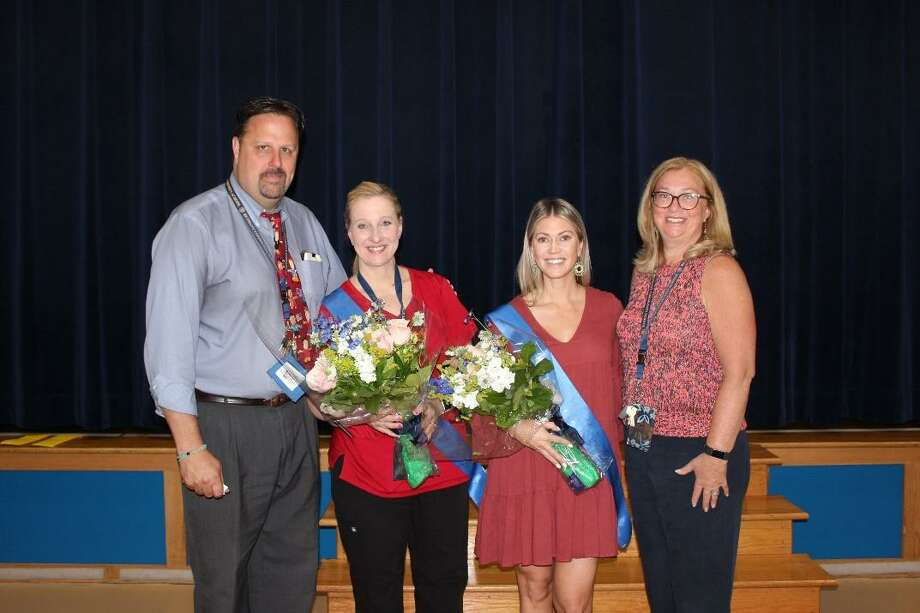From left are Principal Robert Davis, Jennifer Bobok, Katherine Beeman, and Superintendent of Schools Colleen Murray. Photo: Contributed Photo