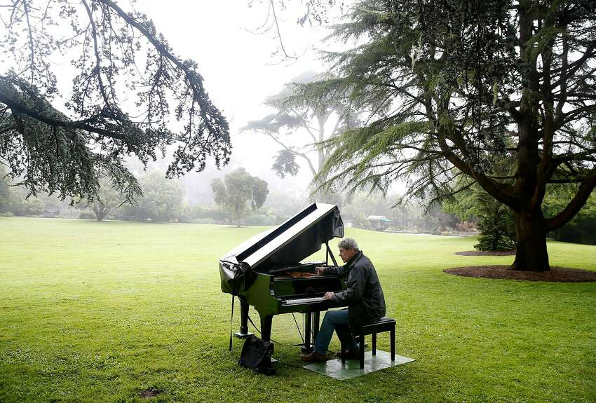 John McArdle tunes a baby grand for the fifth annual Flower Piano event at the S.F. Botanical Garden.