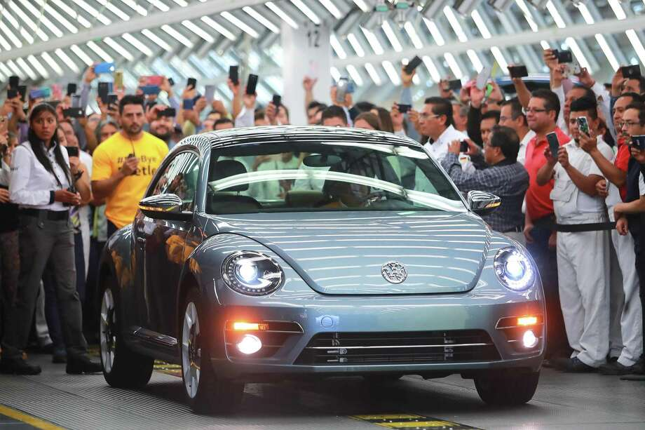 Volkswagen's last model of Beetle produced was displayed during a ceremony in Mexico to announce the end of production for the car after 21 years. Photo: Hector Vivas /Getty Images / 2019 Getty Images