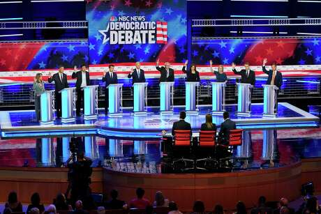 Candidates during the second night of Democratic presidential debates in Miami, June 27, 2019. Houston will host the Democratic debate on Sept. 12 and 13, sponsored by ABC News and the Spanish-language network Univision. (Doug Mills/The New York Times)