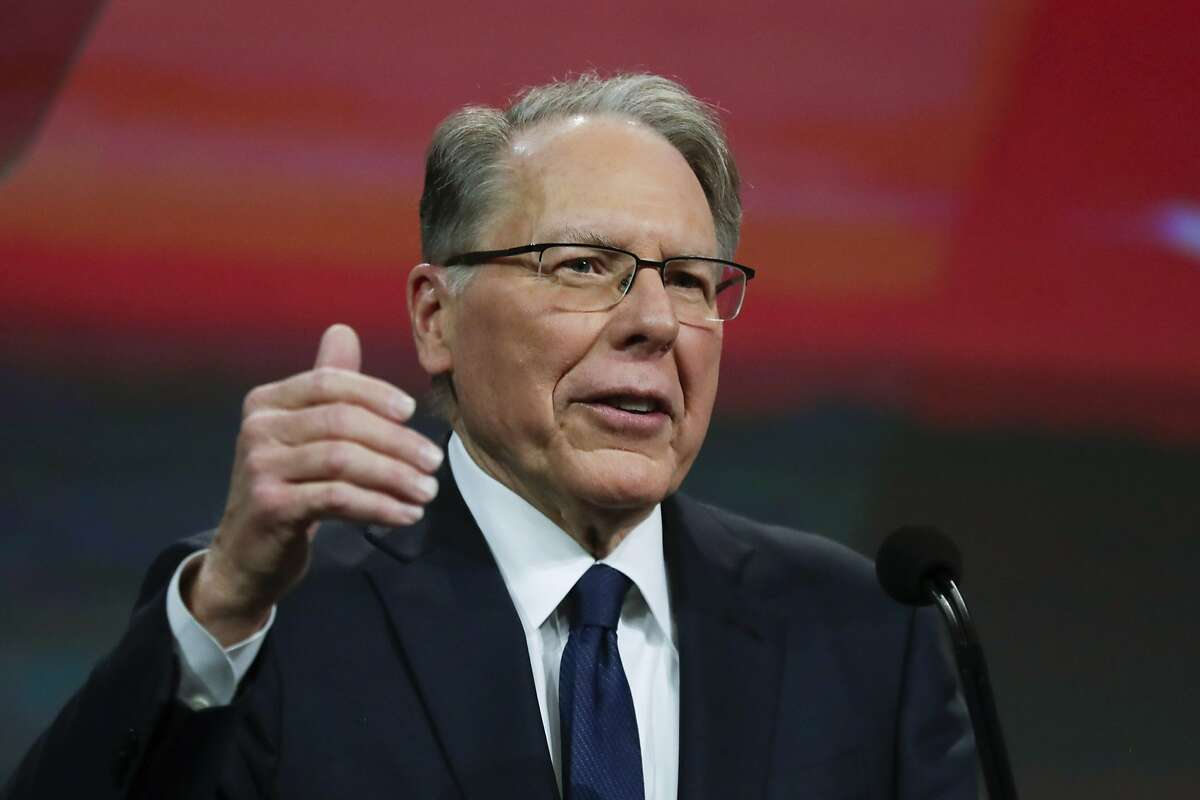 FILE - In this Saturday, April 27, 2019, file photo, National Rifle Association Executive Vice President Wayne LaPierre speaks at the NRA Annual Meeting of Members in Indianapolis. (AP Photo/Michael Conroy, File)