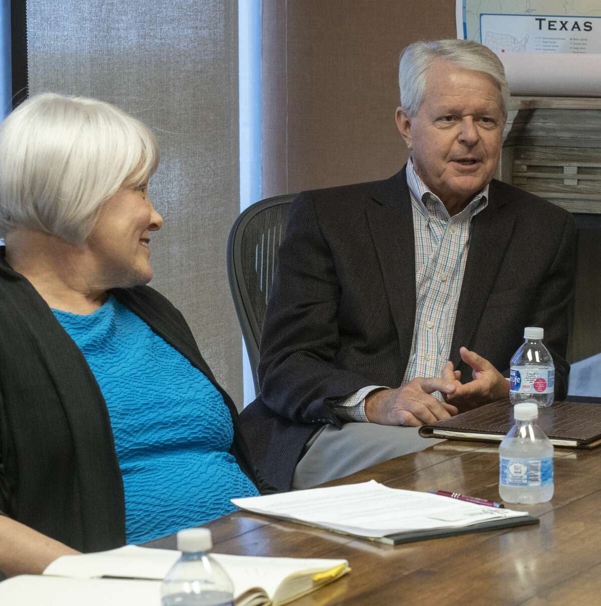 Grant Billingsley with the Scharbauer Foundation, speaks 07/09/19 with area foundation leaders and Permian Strategic Partnership about opening 7 new charter schools with IDEA Public Schools in the Midland and Odessa area by 2025. Tim Fischer/Reporter-Telegram