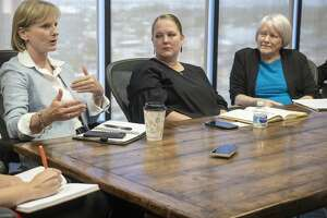 Susan Spratlen with Pioneer Natural Resources, speaks 07/09/19 with area foundation leaders and Permian Strategic Partnership about opening 7 new charter schools with IDEA Public Schools in the Midland and Odessa area by 2025. Tim Fischer/Reporter-Telegram