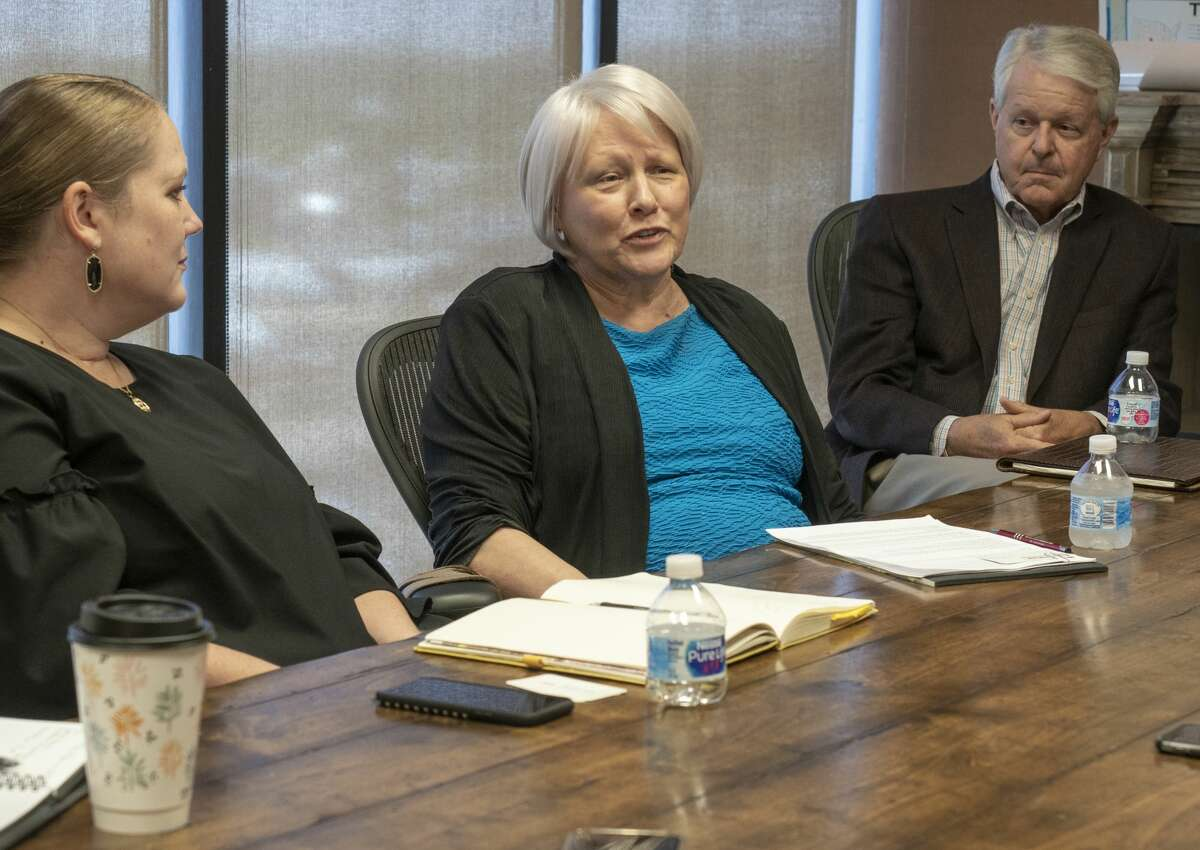 Leal Cordes-Pitts, with the Henry Foundation, speaks 07/09/19 with area foundation leaders and Permian Strategic Partnership about opening 7 new charter schools with IDEA Public Schools in the Midland and Odessa area by 2025. Tim Fischer/Reporter-Telegram